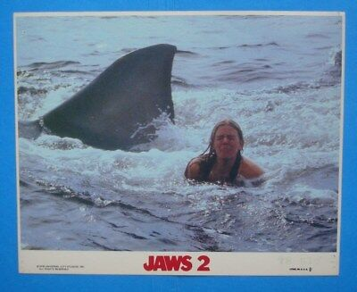 1978 **JAWS 2** 8x10 Color Movie Photo **Swimmer & SHARK!!** Mini LC NSS 78/513