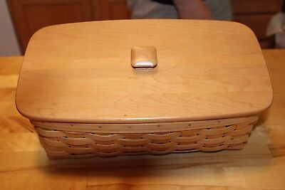 Longaberger 1999 Vanity Basket with Protector and Wooden Lid