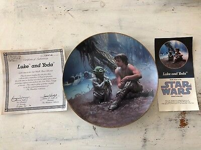 Hamilton Collection Star Wars Luke and Yoda Limited Numbered Plate, with COA