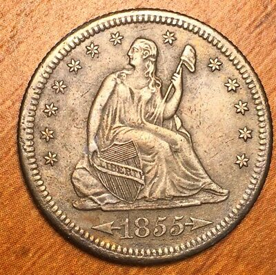 1855-S Seated Liberty Quarter Near Uncirculated very close San Francisco coin go