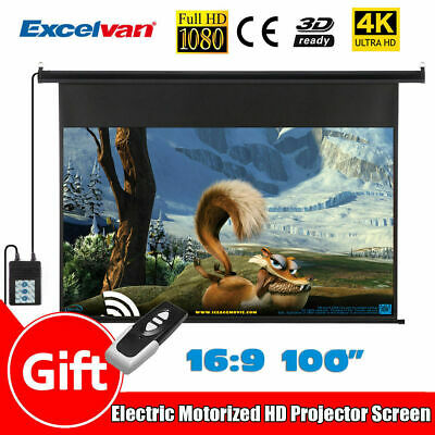 100''16:9 Projector Screen Electric Pull Down Home Theatre HD TV Projection 3D