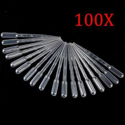 New 100Pcs 3ml Transparent Plastic Disposable Pipet Droppers Transfer Pipettes