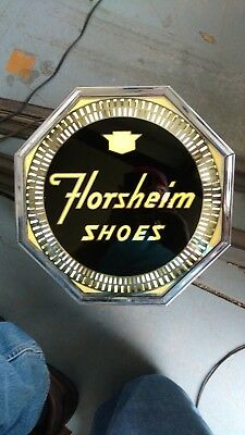 Rare FLORSHEIM SHOE ADVERTISING SPINNER OCTAGON LIGHT SIGN STORE DISPLAY