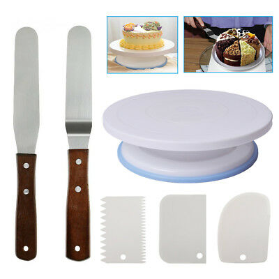 Cake Decorating Rotating Turntable With 3 Icing Smoother And 2 Icing Spatula