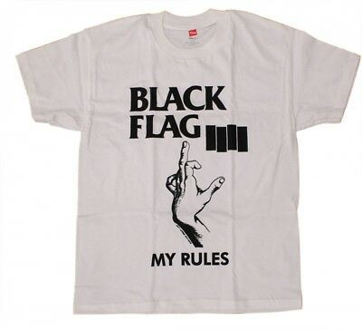 T-Shirt Black Flag My Rules White Unisex