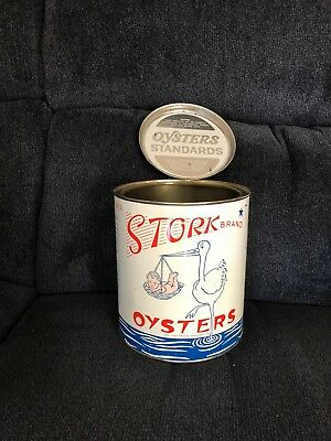 Stork Brand Oyster tin Gallon size in very nice condition from Maryland