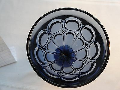 Beautiful Deep Blue Wine Or Water Goblet - Thumbprint, Circles, And Diamonds