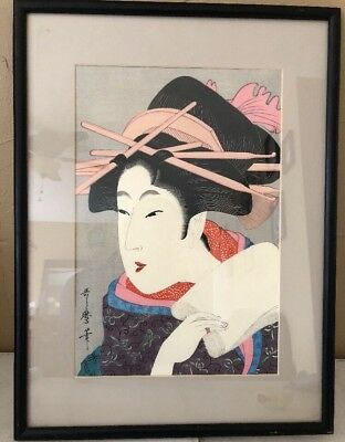 UTAMARO Japanese Woodblock Print  A Beauty 9 1/2 By 14 Rare