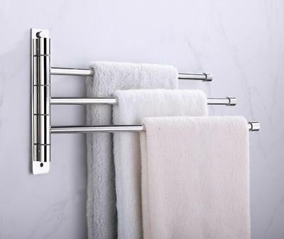 Bathroom Bath Towel Rail Holder Rack Swivel Bars Hanger Shelf SUS 304 Chrome M17