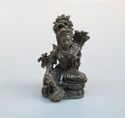 Chinese Hand Engraving Copper Bronze Brass Buddhism Lotus Small Buddha Statue
