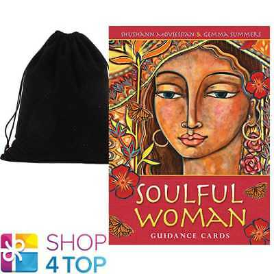 Soulful Woman Oracle Deck Cards Esoteric Telling Blue Angel With Velvet Bag New