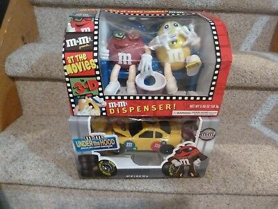 M&M's collectible candy dispenser At the Movies + Under the Hood car NEW