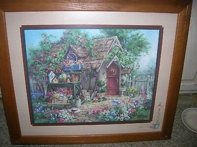Home Interiors Homco Picture Garden Shed Potting Bench Flowers Barbara Mock