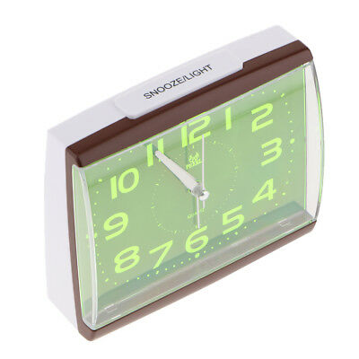 Battery Operated Bedside Clock Non Ticking with Night Light for Home Bedroom