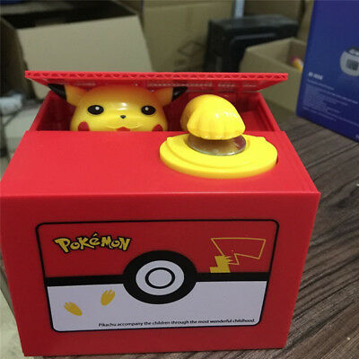Pokemon Pikachu Moving Electronic Coin Money Piggy Bank Savings Box Xmas Gift EL