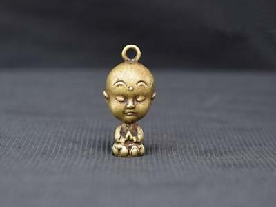 Chinese Buddhism Copper Bronze Brass Big Head Little Novice Monk Small Pendant