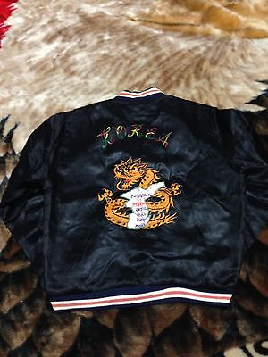 VTG 50s Kids Korea Dragon Sukajan Satin Souvenir Jacket Large Korean War 60s 40s