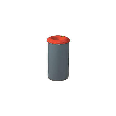 JUSTRITE Trash Can,Round,15 gal.,Red/Gray, 26415, Red/Gray