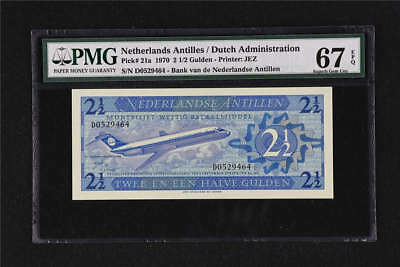 1970 Netherlands Antilles 2 1/2 Gulden Pick#21a PMG 67 EPQ Superb Gem UNC