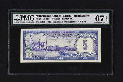 1984 Netherlands Antilles 5 Gulden Pick#15b PMG 67 EPQ Superb Gem UNC
