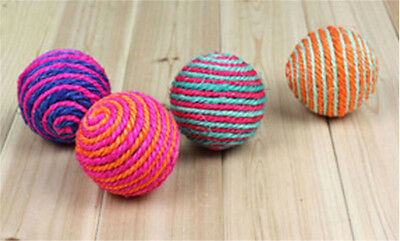 Dog Cat Kitten Pet Teaser Sisal Rope Weave Ball Play Chewing Catch Toy  EL