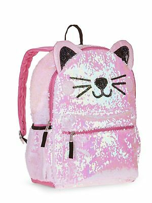 "Kitty 2-Way Sequins Critter 16"" Backpack School Book Bag Tote NEW!!"