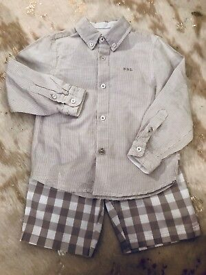 Boboli Boys Shirt Size 5. 2 piece set white and grey