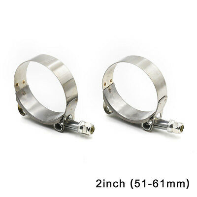 """2PCS 2"""" T-Bolt Clamp Silicone Stainless Steel Hose Turbo Intake Intercooler"""
