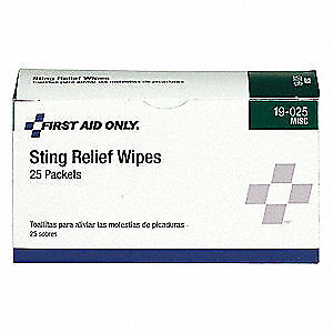 FIRST AID ONLY Sting Relief Wipes,PK25, 19-025