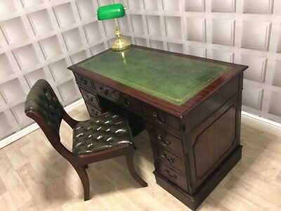 Antique Style Green Leather Top Desk & Chesterfield Chair Set FREE UK P&P