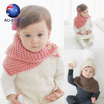 1pc Baby Kids Scarf Winter Neck Warm Woolen Knitted Scarf  Infant Toddler Collar