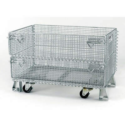 NASHVILLE WIR Steel Wire Mesh Collapsible Container,20 In L,Silver, JR5C, Silver
