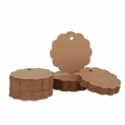 100pcs Flower Edge Kraft Paper Gift Tags Round Brown Gift Tags for Wedding Party
