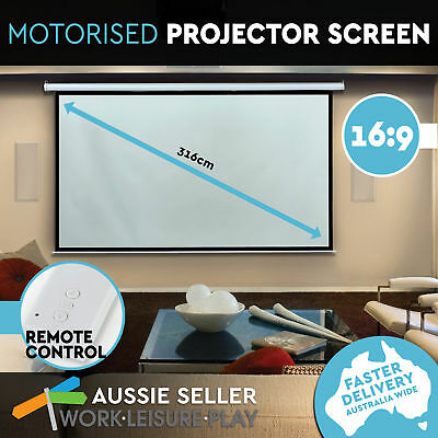 """125"""" Inch Electric Motorised HD TV Projector Screen Home Theatre Projection"""