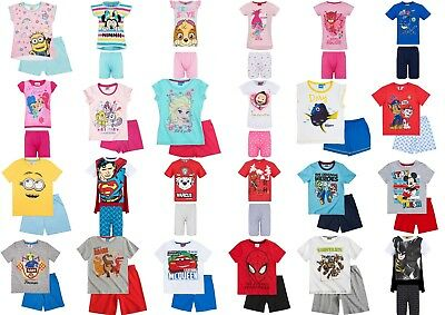 Boys Girls Kids Baby Toddler Teenage Character Short Pyjamas pjs 2-12 Years