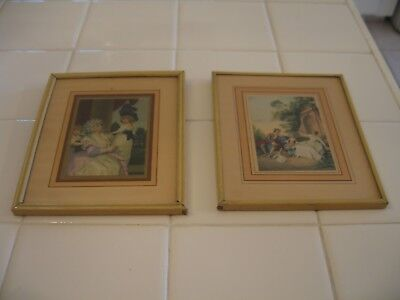 Vintage Metal Framed Pair Of Victorian Prints Of Couple And Lady With Children