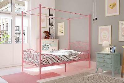 Vintage Metal Bed Girls Twin Bedroom Furniture With Canopy Antique Frame Pink