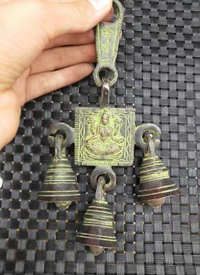 CHINESE BRONZE BRASS Buddhism Wind Chimes Exorcise Evil Spirits Pendant