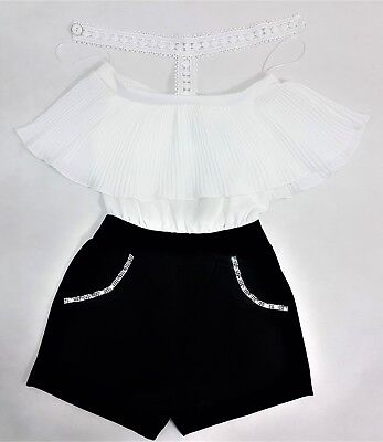 GIRLS  SHORTS  Off Shoulder Bardot Frill  ALL IN ONE PLAYSUIT Size 4-14 Years