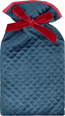 Souffle Jade Satin & Red Trim Quilted Cover 2 Litre Hot Water Bottle