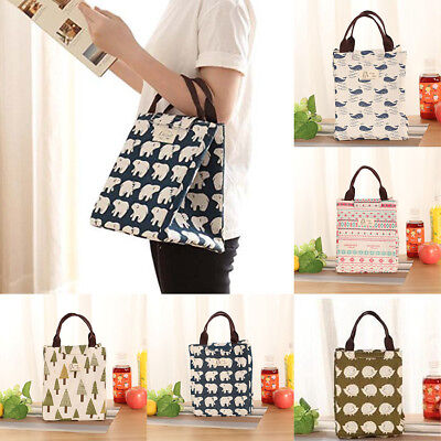 Portable Insulated Canvas Cooler Picnic Lunch Bag Thermal Food Tote Storage AU