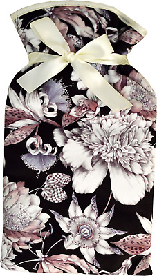Vagabond Floral Black Print Padded Cotton Cover 2 Litre Hot Water Bottle