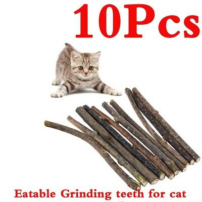 10pcs Pet Cat Pure Natural Catnip Snacks Molar Toothpaste Stick Cleaning Teeth