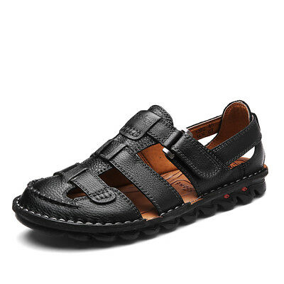Men Genuine Leather Sandals Buckle Closed Toe Fisherman Beach Hiking Plus Size
