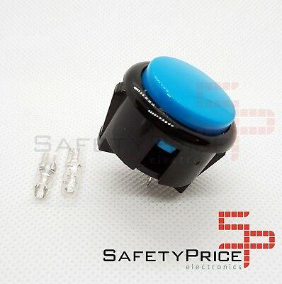Pulsador Arcade 30mm Azul faston Jamma Push button Bartop Raspberry SP