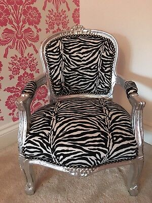 Shabby Chic Ornate French Louis Style Zebra Faux Fur Print Child's Chair