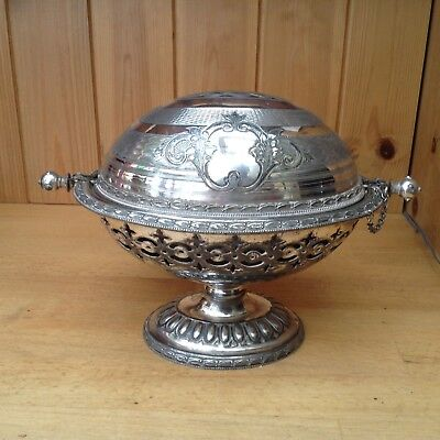 Antique Silver Plated Roll Top Entree/Bacon/Muffin Warming Dish