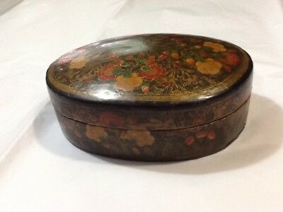 Vintage Handmade Hand Painted Lacquer PAPER MACHE Oval Trinket Box ~ Floral