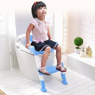 Potty Trainer Toilet Seat Chair Kids Toddler W/ Ladder Step Up Training Stool QC