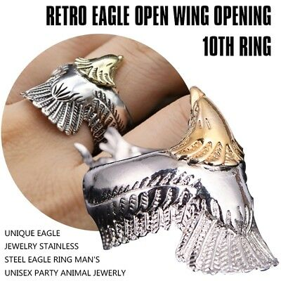 3X(Unique Eagle Jewelry Stainless Steel Eagle Ring Man's Unisex Party Anim O4Q8)